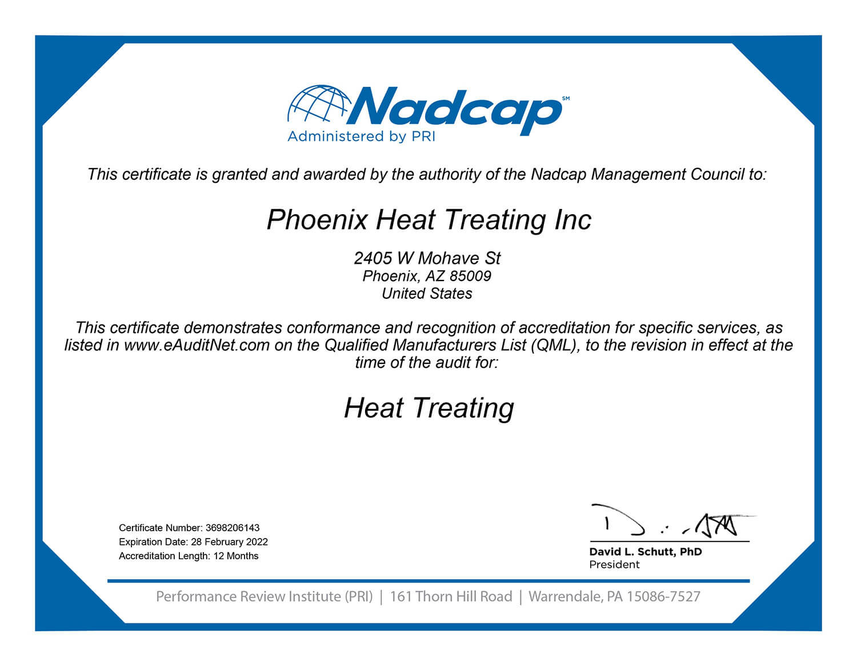 Nadcap certificate